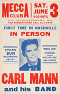 Music Memorabilia:Posters, Carl Mann/Sun Records Mecca Club Concert Poster (1961). ExtremelyRare....