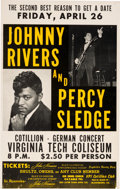 Music Memorabilia:Posters, Percy Sledge/Johnny Rivers Virginia Tech Coliseum (1968). Very Rare....