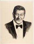 "Movie/TV Memorabilia:Autographs and Signed Items, A John Wayne Signed Original Charcoal and Pencil Drawing Related tothe TV Special ""An All-Star Tribute to John Wayne."" ..."