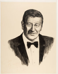 """A John Wayne Signed Original Charcoal and Pencil Drawing Related to the TV Special """"An All-Star Tribute to John Way..."""