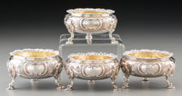 Four George John Richards & Edward Charles Brown Victorian Partial Gilt Silver Footed Open Salts, London, 1864 M...