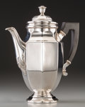 Silver & Vertu:Hollowware, A Christofle Silver-Plated Coffee Pot, Paris, 20th century. Marks: (O-scale-C), CHRISTOFLE, (IOC-knight). 9-3/8 inches h...