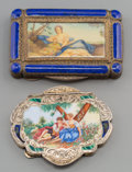 Silver Smalls:Other , Two Italian Partial Gilt Silver, Enamel, and Watercolor CompactCases, 20th century. Marks: 800, (effaced); MADE IN IT...(Total: 2 Items)