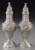 Silver Holloware, Continental:Holloware, A Near Pair of German Silver Sugar Shakers, Hanau, Germany, late19th century. Marks: (pseudo hallmarks). 7-1/2 inches high ...(Total: 2 Items)