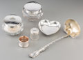 Silver Holloware, American:Vanity, Six Various Silver and Glass Table Items, 20th century. Marks:(various). 12 inches long (30.5 cm) (longest, ladle). 15.03 t...(Total: 6 Items)