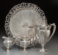 Silver Holloware, American:Coffee Pots, A Four-Piece American Silver Coffee Service, circa 1900. Marks: STERLING, 615S. 13-3/4 inches diameter (34.9 cm) (tray)... (Total: 4 Items)