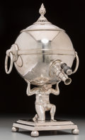 Silver Holloware, British:Holloware, A Mappin & Webb Silver-Plated Hot Water Urn with Atlas Motif,Sheffield, early 20th century. Marks: MAPPIN & WEBB.13-1/...