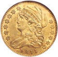 Early Half Eagles, 1811 $5 Small 5, BD-2, R.3, MS61 NGC....