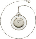 Timepieces:Pocket (post 1900), Van Cleef & Arpels Rare Diamond, Platinum & Rock Crystal Pocket Watch. ...