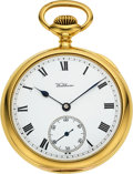 Timepieces:Pocket (pre 1900) , Waltham 18k Gold 21 Jewel 12 Size Bridge Model. ...
