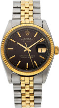Timepieces:Wristwatch, Rolex Ref. 1601 Two Tone Datejust With Tropical Dial, circa 1964....