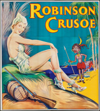 "Pantomime Theatre-Robinson Crusoe (Taylors Printers, 1930s). British Theatre Six Sheet (79.5"" X 88.75""). Comed..."