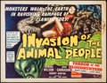 "Movie Posters:Science Fiction, Invasion of the Animal People (A.D.P., 1962). Half Sheet (22"" X28""). Science Fiction.. ..."