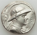Ancients:Greek, Ancients: BACTRIAN KINGDOM. Eucratides I Megas (ca. 170-145 BC). ARtetradrachm (16.55 gm). Fine, graffito, wavy flan....