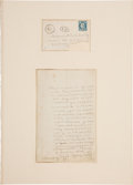 Autographs:Authors, George Sand Autograph Letter Signed to Albert Lacroix withEngraving.... (Total: 3 Items)