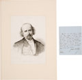 Autographs:Artists, Four Letters and Three Images of 19th Century Notables. ...