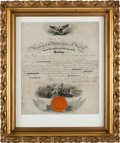 Autographs:U.S. Presidents, Abraham Lincoln Signed Naval Commission....