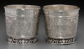 Silver Holloware, Continental:Holloware, A Pair of German Engraved Silver Pictorial Beakers, Germany, 19thcentury or earlier. Marks: (pineapple), U, S, (wee...(Total: 2 Items)