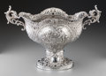 Silver Holloware, Continental:Holloware, A Large German Silver Reticulated Basket, Hanau, Germany, late19th-early 20th century. Marks: (pseudo marks). 14 h x 25 w x...