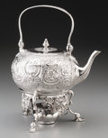 Silver Holloware, British:Holloware, An Augustin Le Sage George III Silver Teapot on Stand, London,1770. Marks: (lion passant), (crowned leopard), p, (A-cha...(Total: 2 Items)
