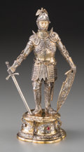 Silver Holloware, Continental:Holloware, A German Silver and Hardstone-Mounted Knight Figure, probablyHanau, early 20th century. Marks: (crescent), (crown), 925,...