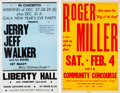 Music Memorabilia:Posters, Roger Miller / Jerry Jeff Walker - Two Vintage Concert Posters.... (Total: 2 Items)