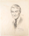 Movie/TV Memorabilia:Autographs and Signed Items, A James Stewart Signed Original Graphite and Pencil Drawing Related to a TV Special, Circa 1970s. ...