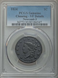 Large Cents, 1824 1C N-3, R.2, -- Cleaning -- PCGS Genuine. VF Details. NGC Census: (0/13). PCGS Population: (0/9). CDN: $55 Whsle. Bid ...