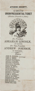 Political:Small Paper (pre-1896), Abraham Lincoln 1864 Athens County, Ohio Union Presidential Ticket....