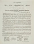 Miscellaneous:Broadside, Pro-Lincoln 1864 Campaign Broadside in Favor of Extending the Voteto Soldiers in the Field. ...