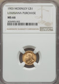 Commemorative Gold, 1903 G$1 Louisiana Purchase, McKinley Gold Dollar MS66 NGC....