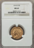 Indian Half Eagles, 1910-S $5 MS62 NGC....