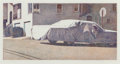 Fine Art - Work on Paper:Print, Robert Bechtle (b. 1932). Covered Car-Missouri Street, 2002.Etching with aquatint in colors on Somerset paper. 7-7/8 x ...