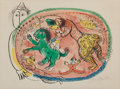 Fine Art - Work on Paper:Print, Marc Chagall (1887-1985). Le cercle rouge, 1966. Lithographin colors on Arches paper. 18-7/8 x 24-3/4 inches (48.0 x 63...