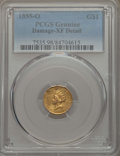 Gold Dollars: , 1855-O G$1 -- Damage -- PCGS Genuine. XF Details. NGC Census: (16/475). PCGS Population: (24/345). CDN: $1,100 Whsle. Bid f...
