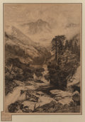 Fine Art - Work on Paper:Print, Thomas Moran (American, 1837-1926). Mountain of the Holy Cross, 1888. Etching. 26-1/4 x 18-1/4 inches (66.7 x 46.4 cm) (...