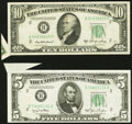Error Notes:Attached Tabs, Butterfly Fold Errors Fr. 1961-B $5 1950 Wide I Federal Reserve Note. About Uncirculated and Fr. 2011-B $10 1950A Federal Rese... (Total: 2 notes)