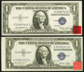Error Notes:Miscellaneous Errors, Misaligned Face Printing Error Fr. 1614 $1 1935E Silver Certificates. Two Examples. Choice About Uncirculated or Better.. ... (Total: 2 notes)