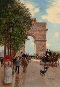 Fine Art - Painting, European:Antique  (Pre 1900), Jean Béraud (French, 1849-1935). L'Arc de Triomphe,Champs-Elysées, circa 1882-85. Oil on canvas. 22-1/2 x 15-1/4inches... (Total: 2 Items)