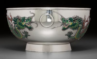 A Fine Chinese Export Silver and Enamel Bowl with Dragon Motif, late 19th-early 20th century Marks: 90