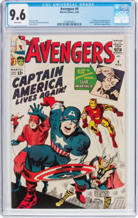 The Avengers #4 (Marvel, 1964) CGC NM+ 9.6 White pages