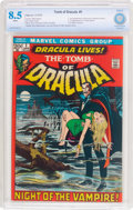 Bronze Age (1970-1979):Horror, Tomb of Dracula #1 (Marvel, 1972) CBCS VF+ 8.5 White pages....