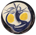 Sculpture, Pablo Picasso (1881-1973). Visage, 1960. Glazed white earthenware plate, painted in colors. 17 inch diameter (43.2 cm). ...