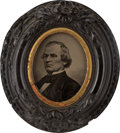 Political:Ferrotypes / Photo Badges (pre-1896), Andrew Johnson: Tintype Wall Plaque....