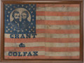 "Political:Textile Display (pre-1896), Grant & Colfax: A Huge 47"" x 34.5"" Jugate Campaign FlagBanner...."
