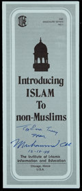 """Boxing Collectibles:Autographs, 1988 Muhammad Ali Signed """"Introducing Islam to Non-Muslims""""Pamphlet. ..."""
