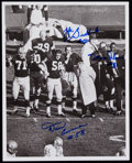 Football Collectibles:Photos, Zeke Bratkowski, Dan Currie and Marv Fleming Multi-Signed Photograph....