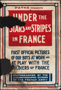 "Under the Stars and Stripes in France (Pathé, 1917). Newsreel One Sheet (28"" X 41""). Short Subject"