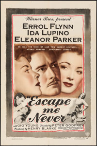 "Escape Me Never (Warner Brothers, 1948). One Sheet (27"" X 41""). Drama"