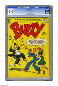 """Buzzy #1 Carson City pedigree (DC, 1944) CGC VF/NM 9.0 White pages. """"America's favorite teenster"""" begins. Grea..."""